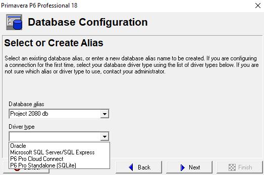 primavera p6 database configuration details project 2080