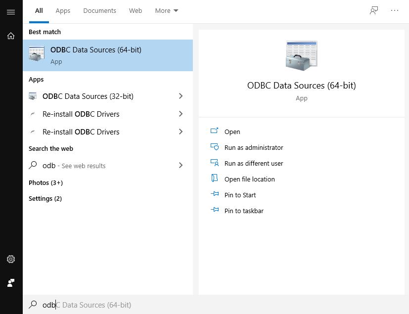 ODBC Data Sources (64-bit) windows