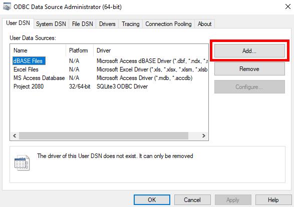 ODBC Database files add primavera p6 database