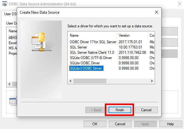 ODBC Create New Data Source