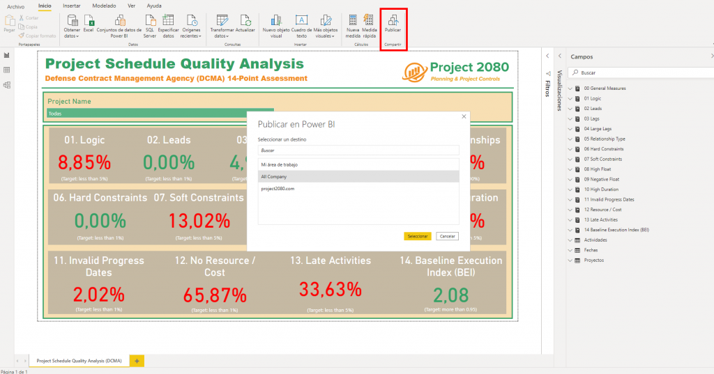 Power BI publish and share dashboard project 2080