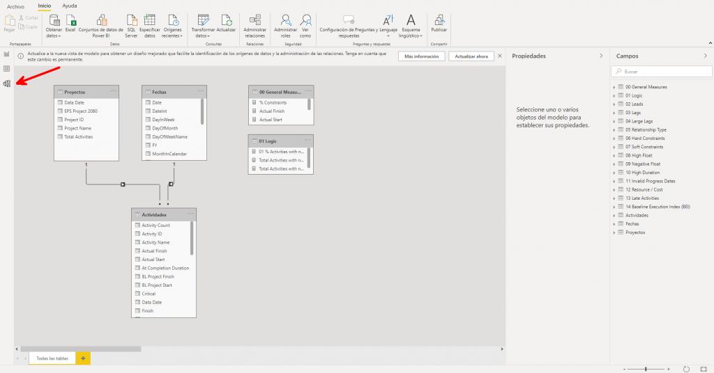 Power BI modelo y relaciones tablas primavera p6 project 2080
