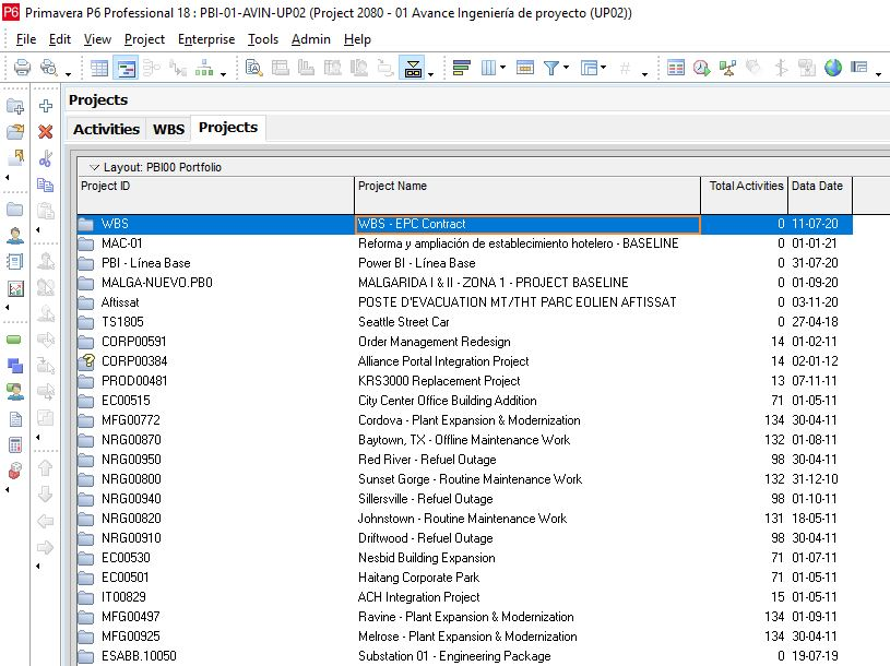 connect primavera p6 to power bi project 2080 projects