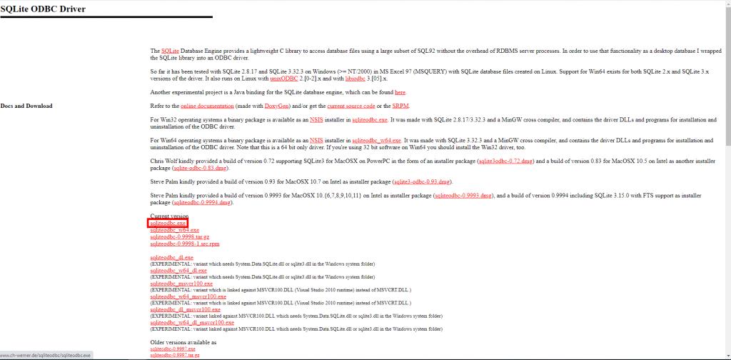 SQLite ODBC Driver download