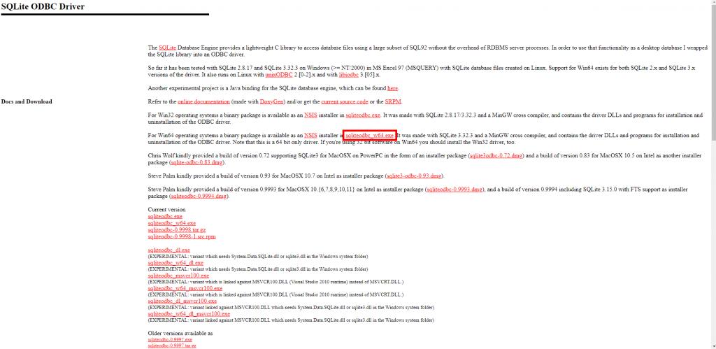 SQLite ODBC Installer descarga